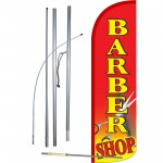 Barber Shop Red Extra Wide Windless Swooper Flag Bundle