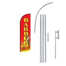 Barber Shop Red Extra Wide Windless Swooper Flag Bundle