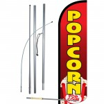 Popcorn Red Extra Wide Windless Swooper Flag Bundle