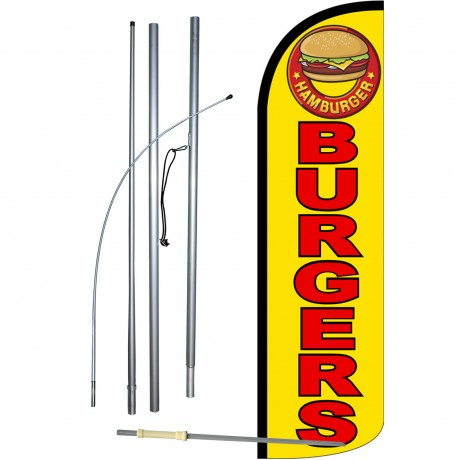 Burgers Yellow Extra Wide Windless Swooper Flag Bundle