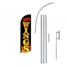 BBQ Wings Extra Wide Windless Swooper Flag Bundle