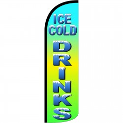 Ice Cold Drinks Extra Wide Windless Swooper Flag