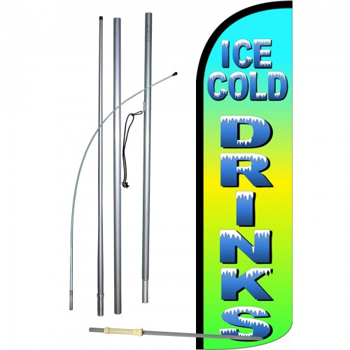 Ice Cold Beer Swooper Feather Flags Banner Sign