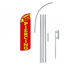 Body Piercing Extra Wide Windless Swooper Flag Bundle