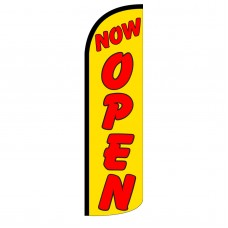Now Open Yellow Extra Wide Windless Swooper Flag