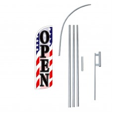 Open Old Glory Extra Wide Windless Swooper Flag Bundle