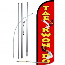 Tae Kwan Do Extra Wide Windless Swooper Flag Bundle