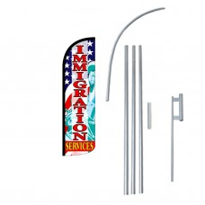 Immigration Services Extra Wide Windless Swooper Flag Bundle