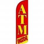 ATM Inside Red Extra Wide Windless Swooper Flag
