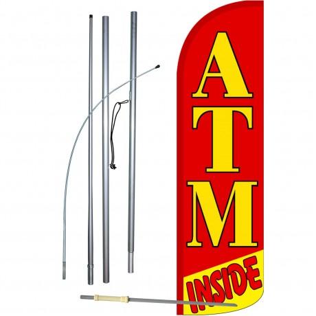 ATM Inside Red Extra Wide Windless Swooper Flag Bundle