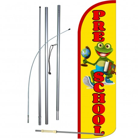 Pre-School Frog Extra Wide Windless Swooper Flag Bundle
