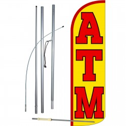 ATM Yellow Extra Wide Windless Swooper Flag Bundle