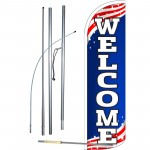 Welcome Extra Wide Windless Swooper Flag Bundle