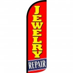 Jewelry Repair Red Extra Wide Windless Swooper Flag