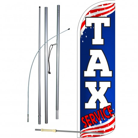 Tax Service Patriotic Extra Wide Windless Swooper Flag Bundle