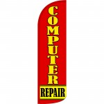 Computer Repair Red Extra Wide Windless Swooper Flag