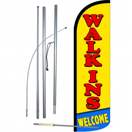 Walk-Ins Welcome Extra Wide Windless Swooper Flag Bundle