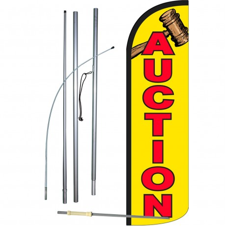 Auction Extra Wide Windless Swooper Flag Bundle
