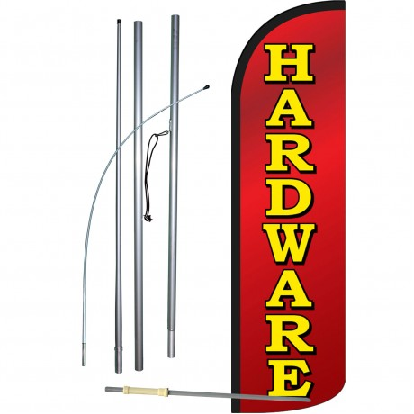 Hardware Red Extra Wide Windless Swooper Flag Bundle
