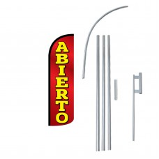 Abierto (Open) Extra Wide Windless Swooper Flag Bundle
