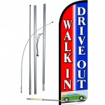 Walk-In Drive-Out Extra Wide Windless Swooper Flag Bundle