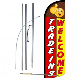 Trade-Ins Welcome Extra Wide Windless Swooper Flag Bundle