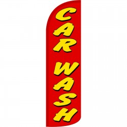 Car Wash Red Extra Wide Windless Swooper Flag