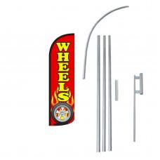 Wheels Extra Wide Windless Swooper Flag Bundle