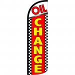 Oil Change Red Checkered Extra Wide Windless Swooper Flag