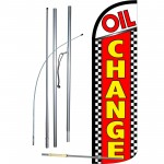 Oil Change Red Checkered Extra Wide Windless Swooper Flag Bundle