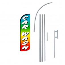 Car Wash Rainbow Extra Wide Windless Swooper Flag Bundle