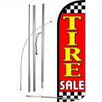 Tire Sale Red Extra Wide Windless Swooper Flag Bundle