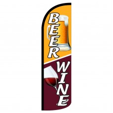 Beer & Wine Extra Wide Windless Swooper Flag