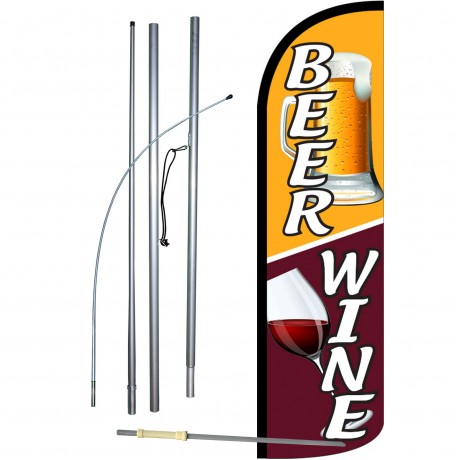 Beer & Wine Extra Wide Windless Swooper Flag Bundle