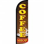 Coffee Shop Extra Wide Windless Swooper Flag