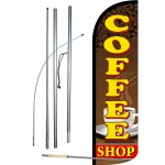 Coffee Shop Extra Wide Windless Swooper Flag Bundle