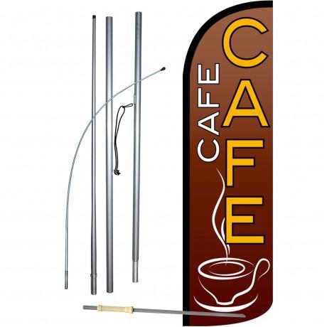 Café Extra Wide Windless Swooper Flag Bundle
