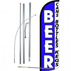 Beer Blue Extra Wide Windless Swooper Flag Bundle