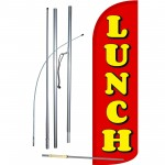 Lunch Red Extra Wide Windless Swooper Flag Bundle