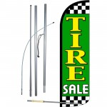 Tire Sale Green Extra Wide Windless Swooper Flag Bundle