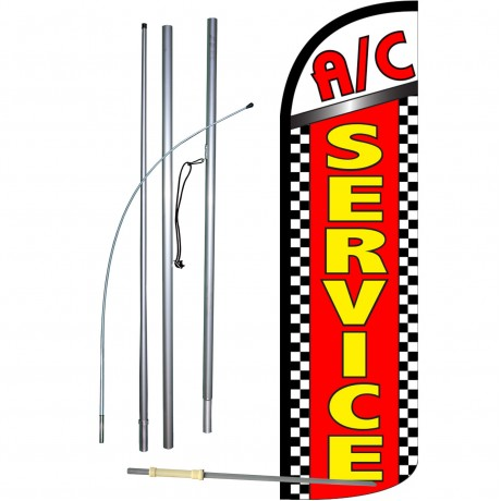 A/C Service Extra Wide Windless Swooper Flag Bundle