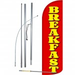 Breakfast Red Extra Wide Windless Swooper Flag Bundle