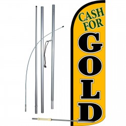 Cash For Gold Extra Wide Windless Swooper Flag Bundle