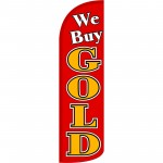 We Buy Gold Red Extra Wide Windless Swooper Flag