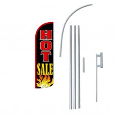 Hot Sale Black Extra Wide Windless Swooper Flag Bundle