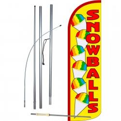 Snowballs Extra Wide Windless Swooper Flag Bundle
