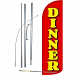 Dinner Red Extra Wide Windless Swooper Flag Bundle
