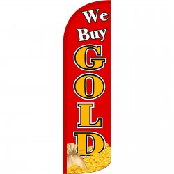 We Buy Gold Cash Bag Extra Wide Windless Swooper Flag
