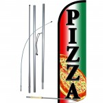 Pizza Extra Wide Windless Swooper Flag Bundle