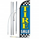Tire Sale Blue Extra Wide Windless Swooper Flag Bundle